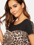 Brown Round Neck Cap Sleeve Cut-and-sew Leopard Print Top