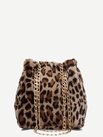 Brown Leopard Pattern Chain Tote Bag