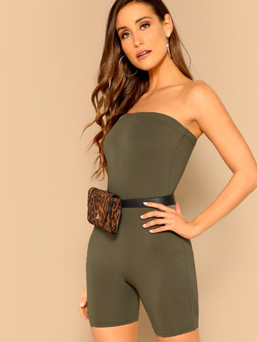 Green Strapless Form Fitted Solid Tube Romper