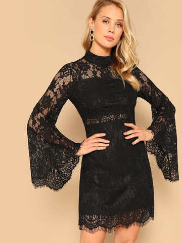 Black Stand Collar Floral Lace Overlay Bell Sleeve Dress