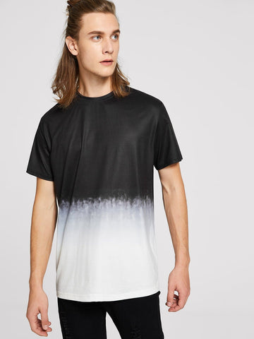 Black and White Short Sleeve Two-tone Ombre T-shirt