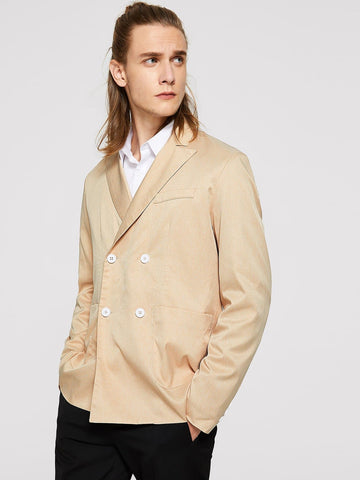 Champagne Regular Fit Notch Collar Double Breasted Blazer