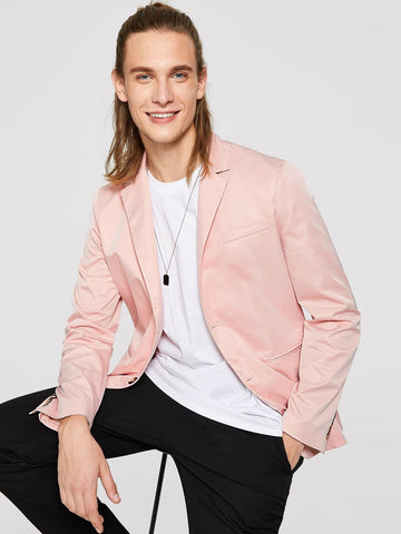 Pink Regular Fit Single Breasted Welt Pocket Solid Blazer