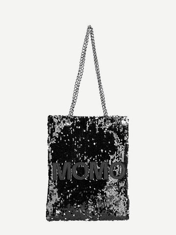 Black Contrast Patch Sequins Decor Tote Bag