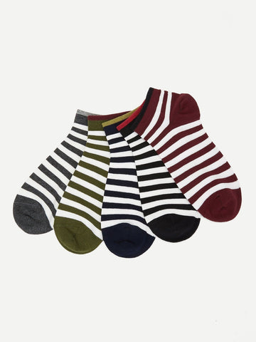 Cotton Striped Ankle Socks 5pairs