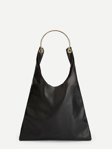 Black Plain Tote Bag With Metal Handle