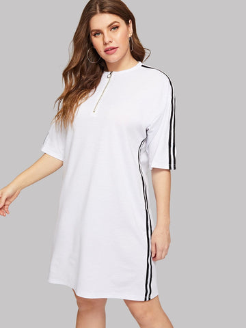 White Round Neck Plus Zip Contrast Striped Side Dress