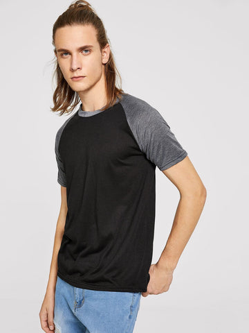 Black Contrast Sleeve Polyester Round Neck Tee TShirt