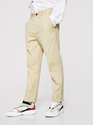 Khaki 100% Cotton Zip Fly Solid Pants