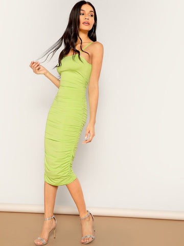 Sleeveless Spaghetti Strap Solid Ruched Detail Bodycon Slip Dress