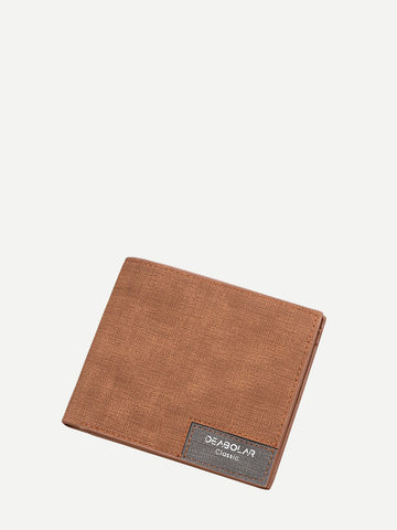 Brown PU Leather Fold Over Solid Wallet