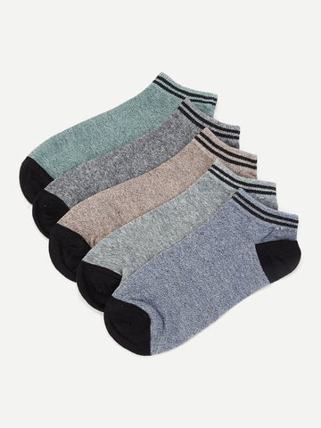 Striped Hem Ankle Socks 5pairs