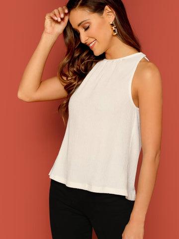 White Round Neck Rib Knit Tank Top