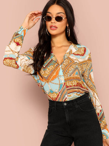 Long Sleeve Geo & Chain Print Curved Hem Shirt