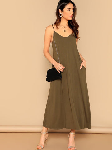 Sleeveless Spaghetti Strap Pocket Patched Swing Cami Dress