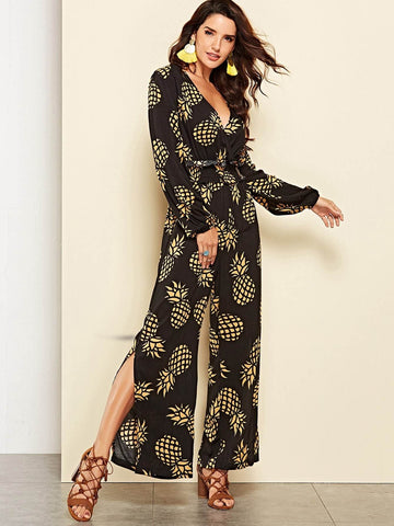 Black V-Neck High Waist Pineapple Print Split Hem Jumpsuit