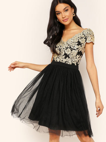 Black V Neck Cap Sleeve Floral Embroidery Mesh Overlay Dress