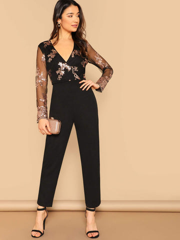 Black Mesh Sleeve Sequin Detail Wrap Front Jumpsuit