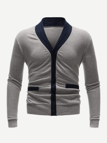 Grey Long Sleeve Contrast Placket Button Through Sweater