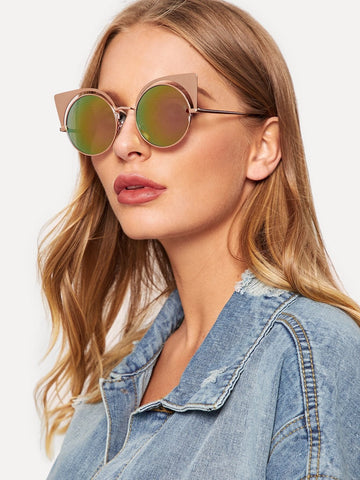 Multicolor Metal Frame Round Lens Sunglasses