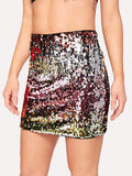 Mid Waist Color Block Sequin Skirt