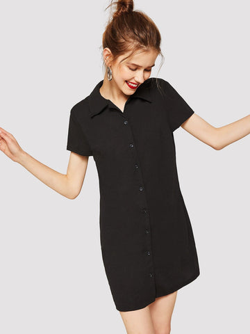 Black Short Sleeve Solid Shirt Dress