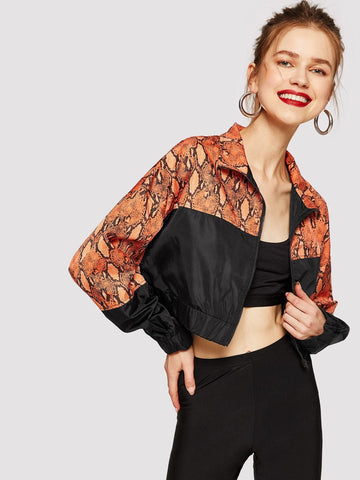 Polyester Stand Collar Zip Up Cut-and-sew Snakeskin Print Jacket