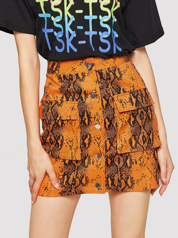 Single Breasted Pocket Patched Snakeskin Print Skirt