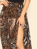 Mid Waist Mixed Animal Print Slit Skirt