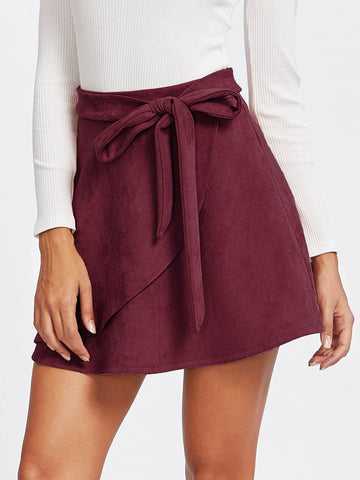 Burgundy Flared Suede Wrap Knotted Skirt