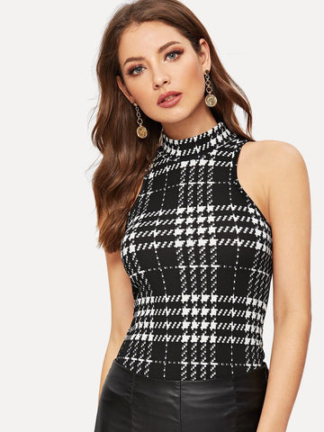 Black and White Stand Collar Slim Fit Mock Neck Plaid Textured Top