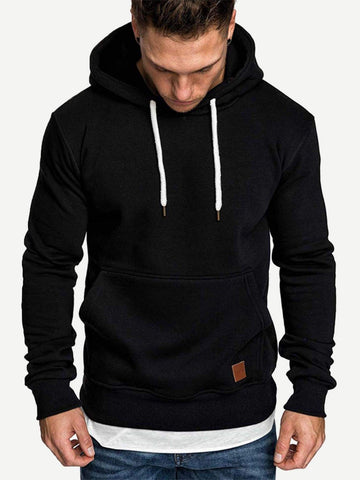 Black Patched & Drawstring Detail Hoodie