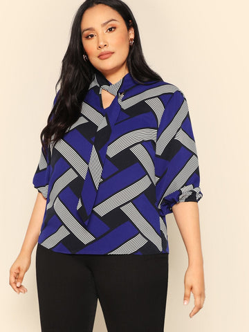 Polyester Stand Collar Plus Mixed Print Tied Neck Blouse