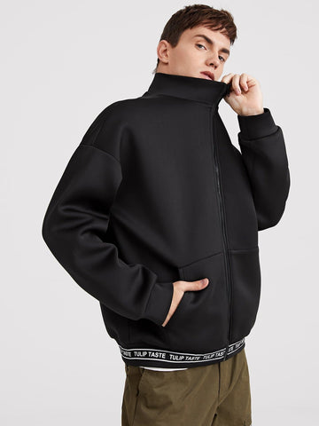 Black Stand Collar Zip Up Letter Tape Hem Jacket