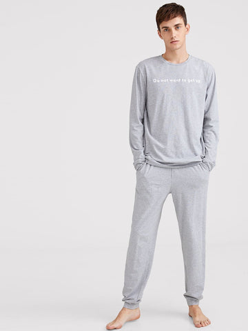 Round Neck Slogan Print Heathered Grey Tee & Pants PJ Set