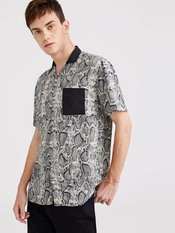 Regular Fit Pocket Front Snakeskin Print Shirt