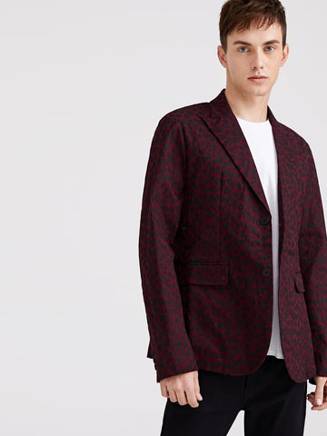 Burgundy Regular Fit Single Breasted Leopard Print Blazer
