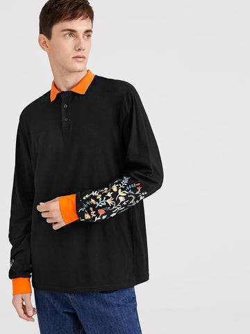 Black Flower Print Sleeve Polo Shirt