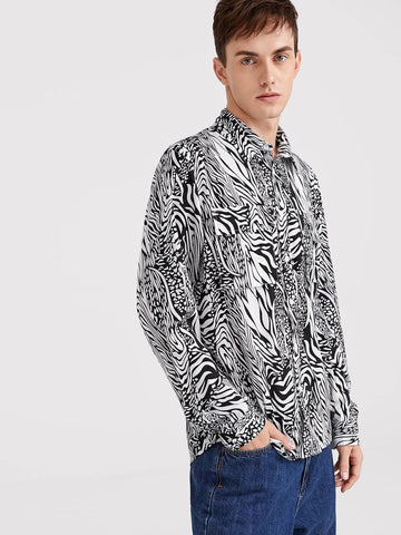 Black and White Flap Pocket Zebra Pattern Shirt