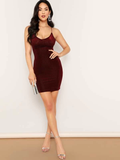 Spaghetti Strap Sleeveless Lace Up Back Rib-knit Velvet Bodycon Dress