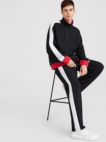 100% Polyester Stand Collar Colorblock Zip Up Sweatshirt and Sweatpants Set