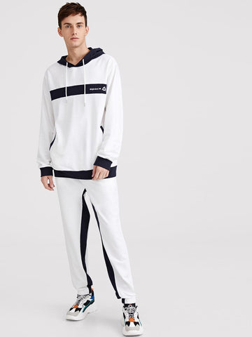 Black and White Slant Pocket Drawstring Hoodie & Pants Set