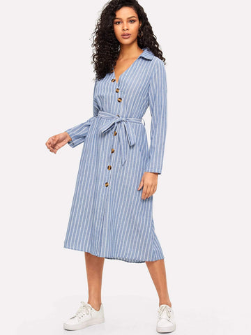 Fit and Flare Collared V-neck Asymmetric Placket Belted Striped Dress