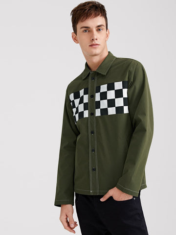 Army Green Checked Panel Contrast Stitch Shirt Jacket
