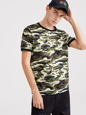 Camouflage Short Sleeve Print Ringer Tee