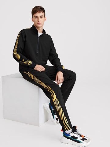 Black Stand Collar Zip Front Pullover & Contrast Side Seam Pants Set