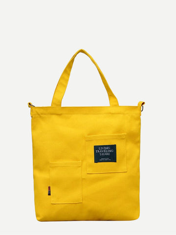 Yellow Side Pocket Detail Canvas Tote Bag