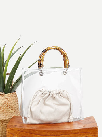 Clear Tote Bag With Inner Clutch