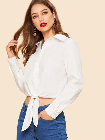 White Long Sleeve 80s Button Up Knot Hem Crop Shirt