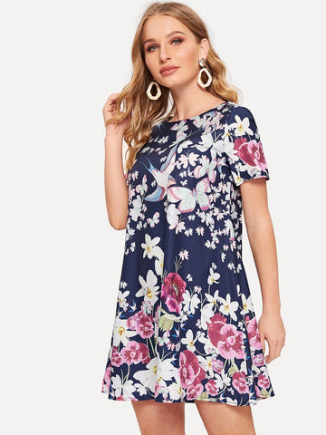 Polyester Round Neck Short Sleeve Flower Print Trapeze Dress